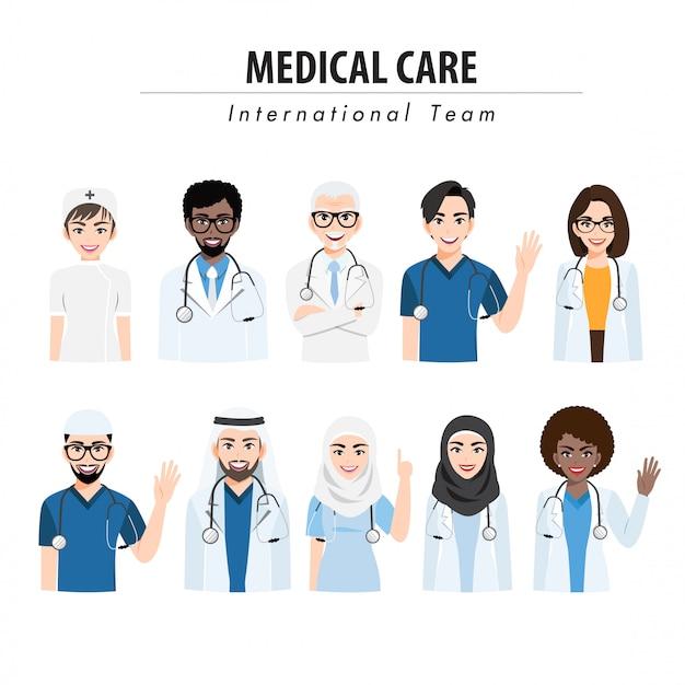 Personnage de dessin animé avec l'équipe médicale et le personnel