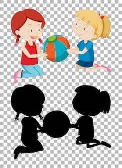 Personnage de dessin animé d'été sur fond transparent et sa silhouette