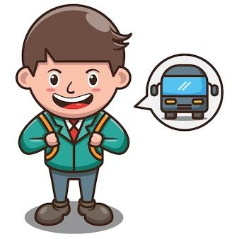 Personnage de dessin animé d'étudiant en attente d'autobus scolaire. vecteur libre