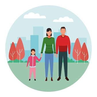Personnage de dessin animé de famille avatar icône ronde icône ronde