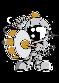 Personnage de dessin animé de fanfare astronaute