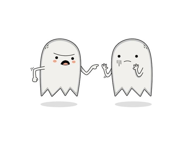 Personnage de dessin animé fantôme mignon faisant valoir