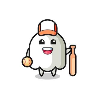 Personnage de dessin animé de fantôme en tant que joueur de baseball, design de style mignon pour t-shirt, autocollant, élément de logo