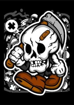 Personnage de dessin animé de faucheuse de crâne