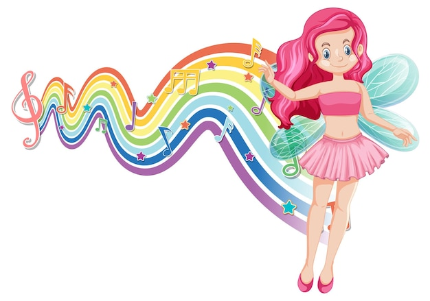 Personnage de dessin animé de fée mignon avec vague arc-en-ciel de mélodie