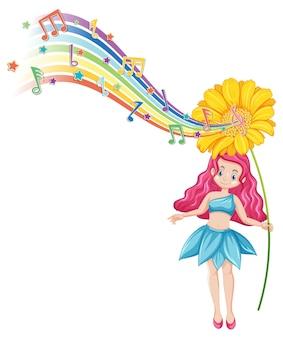 Personnage de dessin animé de fée mignon avec vague arc-en-ciel