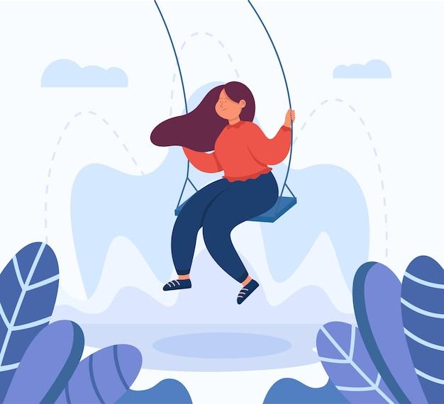 Personnage de dessin animé féminin adulte se balançant sur la balançoire