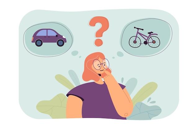 Personnage de dessin animé féminin choisissant entre voiture et vélo