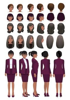 Personnage de dessin animé de femme d'affaires afro-américaine en costume de couleur pourpre de raisin