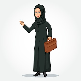 Personnage de dessin animé de femme d'affaires arabe en vêtements traditionnels tenant une mallette avec des mains accueillantes
