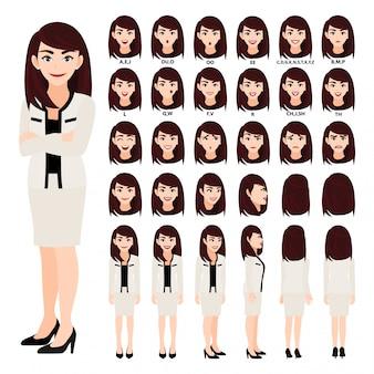 Personnage de dessin animé avec une femme d'affaires en costume d'animation. avant, côté, arrière, caractère de vue 3-4. séparez les parties du corps.