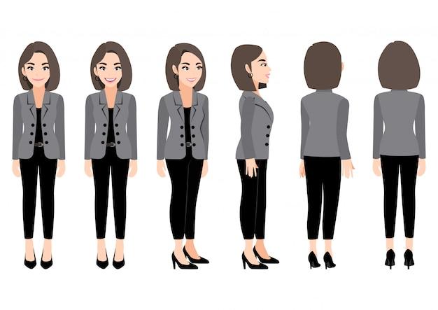 Personnage de dessin animé avec une femme d'affaires en costume d'animation. avant, côté, arrière, caractère de vue 3-4.