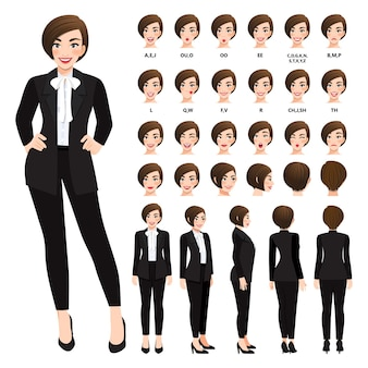Personnage de dessin animé avec femme d'affaires en costume noir pour l'animation.
