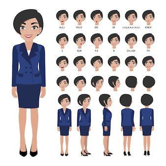 Personnage de dessin animé avec une femme d'affaires en costume pour l'animation.