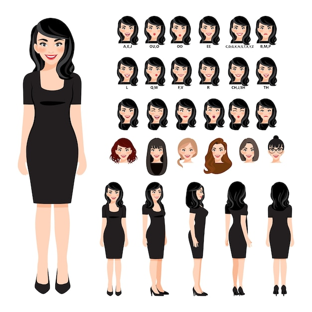 Personnage de dessin animé avec femme d'affaires en robe noire pour animation