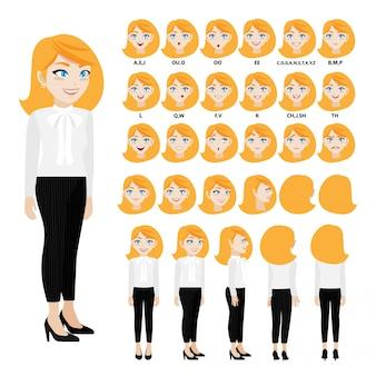 Personnage de dessin animé avec une femme d'affaires en tenue décontractée pour l'animation.