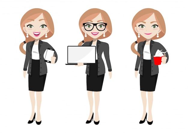 Personnage de dessin animé de femme d'affaires
