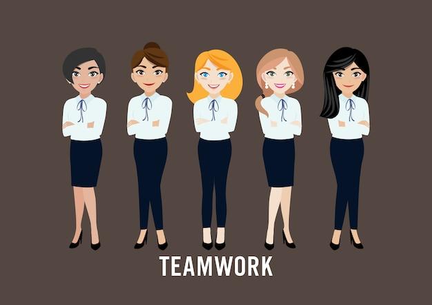 Personnage de dessin animé avec femme d'affaires