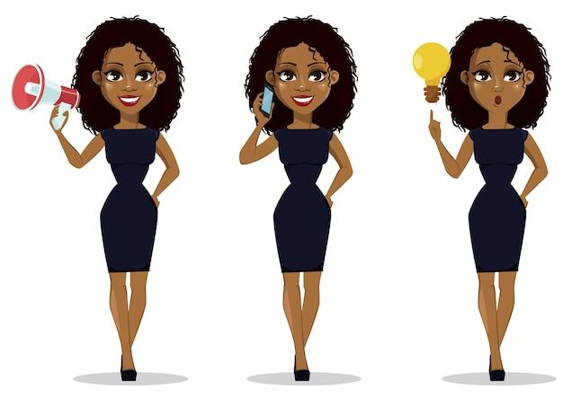 Personnage de dessin animé femme afro-américaine d'affaires, ensemble