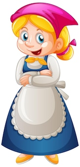 Personnage de dessin animé de femme de chambre isolé sur fond blanc