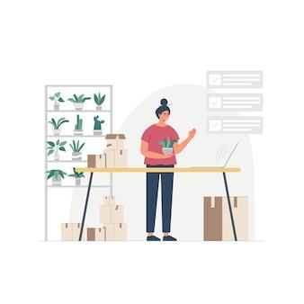 Personnage de dessin animé femme femme au foyer occupé marchant à l'intérieur de la maison