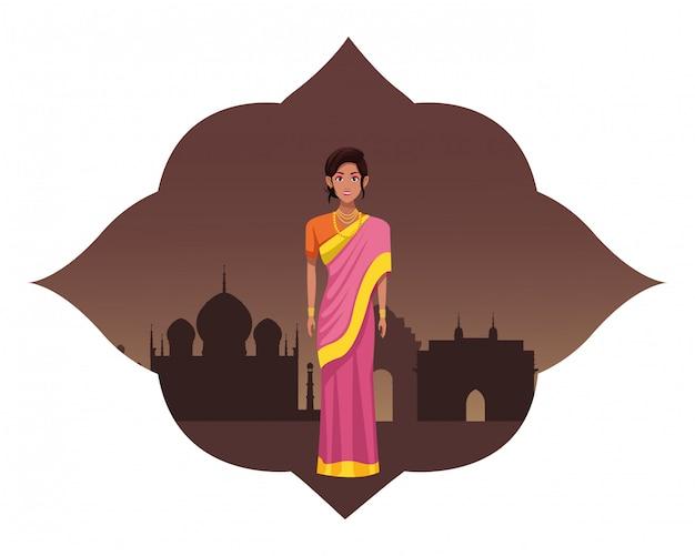 Personnage de dessin animé femme indienne avatar