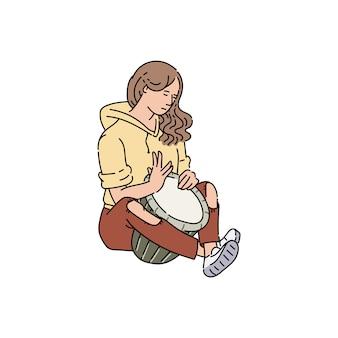 Personnage de dessin animé de femme musicien de rue ou interprète, illustration de croquis sur fond blanc. joueur de spectacle musical de divertissement en plein air des rues de la ville.
