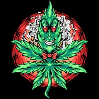 Le personnage de dessin animé de feuille de marijuana