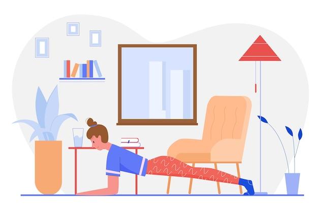 Personnage de dessin animé fille active pratiquant des exercices de yoga asana à la maison