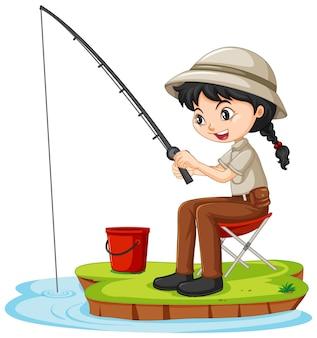 Un personnage de dessin animé de fille assis et pêche sur fond blanc