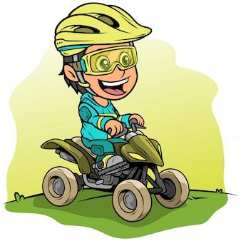 Personnage de dessin animé fille conduisant une moto quad