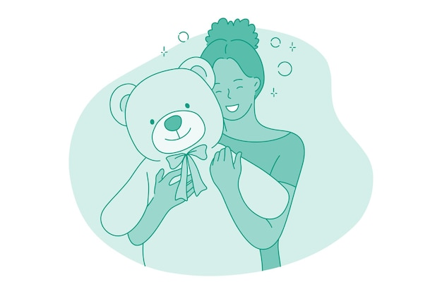 Personnage de dessin animé fille étreignant gros ours en peluche avec les mains