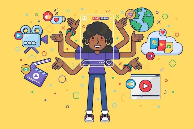 Personnage de dessin animé fille faisant une diffusion en ligne