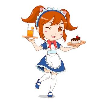 Personnage de dessin animé de fille de fille de café.