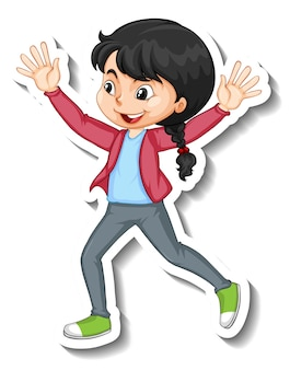 Personnage de dessin animé fille heureuse autocollant