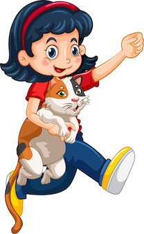 Personnage de dessin animé de fille heureuse étreignant un chat mignon