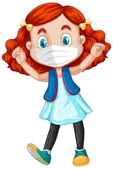 Personnage de dessin animé de fille heureuse avec masque