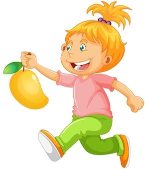 Personnage de dessin animé de fille heureuse tenant une mangue