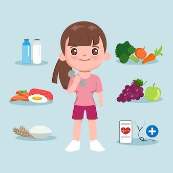 Personnage de dessin animé fille mignonne nourriture saine et exercice.