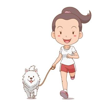 Personnage de dessin animé de fille qui court avec un chien de poméranie.