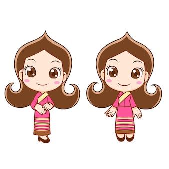 Personnage de dessin animé d'une fille de réception en robe thaïlandaise.