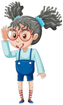 Personnage de dessin animé fille ringard sur fond blanc