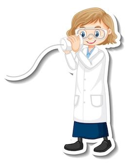 Personnage de dessin animé de fille scientifique avec objet d'expérience scientifique