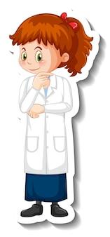 Personnage De Dessin Animé De Fille Scientifique En Posture Debout Vecteur gratuit