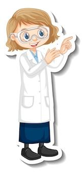 Personnage de dessin animé de fille scientifique en posture debout