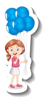 Personnage de dessin animé de fille tenant de nombreux autocollants de dessin animé de ballons