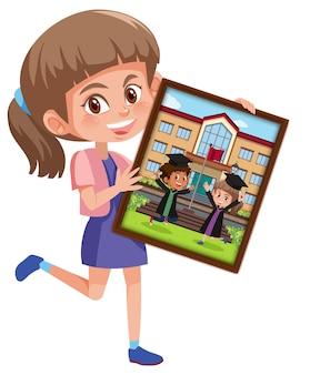 Personnage de dessin animé d'une fille tenant sa photo de remise des diplômes