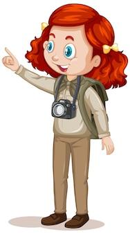 Personnage de dessin animé d'une fille en tenues de camping