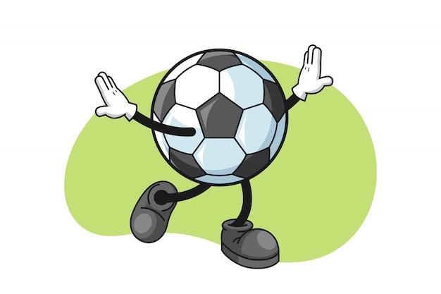 Personnage de dessin animé de football avec un geste heureux