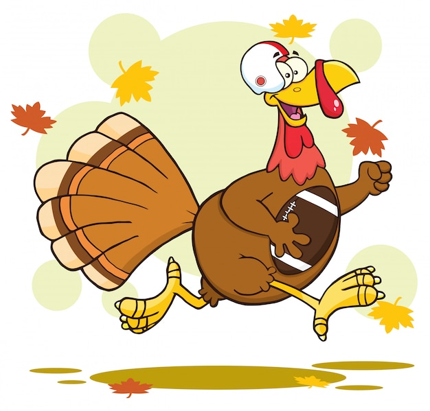 Personnage de dessin animé de football turquie oiseaux en cours d'exécution dans le super bowl de thanksgiving